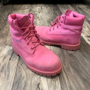 Timberland Mens size 5.5 Premium Boots solid Pink